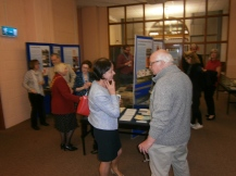 Honorary French Consul Josette LeBrat speaks with Bristol Bordeaux Partnership volunteer Rob Brown at the launch event.